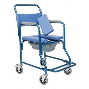 Αναπηρικό Αμαξίδιο Εσωτερικού Χώρου με Αδιάβροχη Επένδυση, Σταθερά Πλαϊνά, Πτυσσόμενα Υποπόδια και Δοχείο Τουαλέτας - 0808378