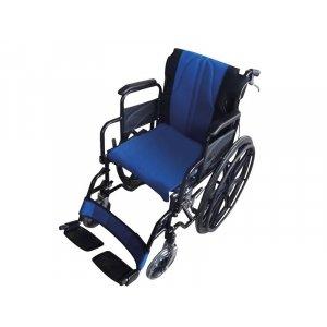 Αναπηρικό Αμαξίδιο σειρά Golden με Μεγάλους Συμπαγείς Τροχούς, Ανυψούμενα Πλαϊνά, Αποσπώμενα Υποπόδια, Φρένα στις Χειρολαβές και Μπλε-Μαύρο Αναπαυτικό Κάθισμα - 0808481