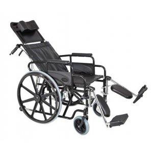 Αναπηρικό Αμαξίδιο Πτυσσόμενο Τύπου Reclining, με Μεγάλους Συμπαγείς Τροχούς, Πτυσσόμενα Πλαϊνά, Ανυψούμενα Υποπόδια, Ανάκλιση Πλάτης και Antispin Βοηθητικό Ροδάκι - 0809236