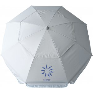 Ομπρέλα Παραλίας με Άνοιγμα 2m Ασημί με Αεραγωγό, Σπαστό Ιστό 2 Μερών και Δακτυλίδι Κλίσης - 12205