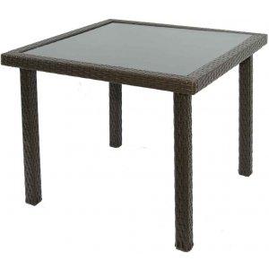 Τραπέζι Rattan - Καφέ Δυο Χρωματικών Τόνων - Αλουμινίου Κήπου με Γυαλί - L90ΧW90ΧH73cm