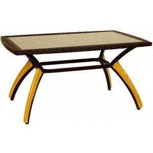 Τραπέζι Rattan με Ξύλο - Καφέ Δυο Χρωματικών Τόνων - L120xW80xH73cm