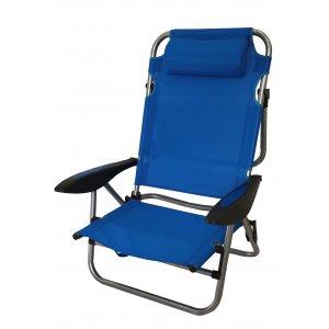 Καρέκλα Παραλίας Μεταλλική 5 Θέσεων με Μπράτσα & Μεγάλο Μαξιλάρι Text