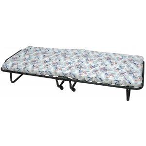 Κρεβάτι Μεταλλικό Ενισχυμένο Πτυσσόμενο με Ρόδες & Στρώμα 7cm - 14 Ξύλινες Τάβλες - 190*80cm