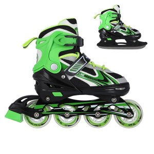 Αυξομειούμενα Πατίνια Roller NH 18188 Σετ 2 σε 1 Inline Skates Nils Extreme - Πράσινο - Medium (34-38)
