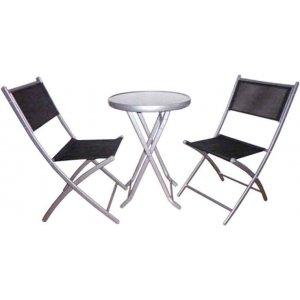 Σετ Τραπέζι Ανθρακί Μεταλλικό Στρογγυλό με Δυο Καρέκλες Text