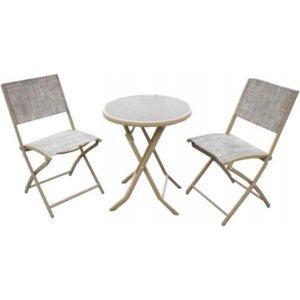 Σετ Τραπέζι Ανθρακί Μεταλλικό Στρογγυλό με Μαύρο Κρύσταλλο & Δυο Καρέκλες