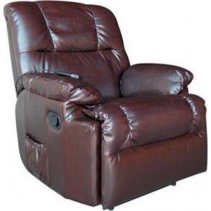 Πολυθρόνα Relax- Μασάζ με χειροκίνητη ανάκλιση Σκούρο Καφέ