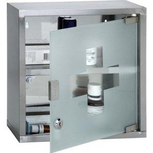 Φαρμακείο Έκτακτης Ανάγκης από Ανοξείδωτο Ατσάλι με Γυαλί Ασφαλείας Αμμοβολής, Μαγνητικό Κλείσιμο και Κλειδαριά 30x30x12cm