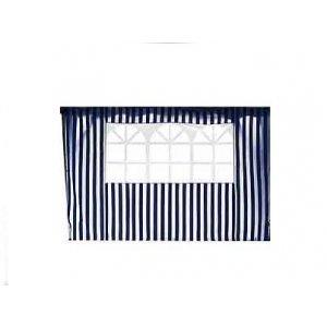 Τοίχος Πλαϊνός Μπλε Ριγέ - Λευκό με Παράθυρο Pol 160gr/m2 - Π300xΥ200cm