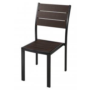 Καρέκλα Στιβάζομενη Μεταλλική με Σχέδιο Απομίμηση Ξύλου