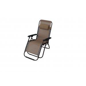 Πολυθρόνα Βεράντας Εκρού Ενισχυμένη - Μεταλλική Πολ/ων Θέσεων με Textlene Heavy Duty 1x2mm - Μπρονζέ Σκελετός με Μαξιλάρι σε Οδηγό