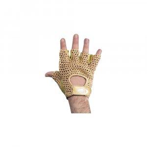 Μισόγαντα Άρσης Βαρών - Δέρμα τύπου Nubuk και πλεκτό - Χρυσό