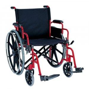 Αναπηρικό Αμαξίδιο Βαρέως Τύπου για Ασθενείς έως 180kg, με Μεγάλους Συμπαγείς Τροχούς, Ανυψούμενα Πλαϊνά και Αποσπώμενα Υποπόδια - 0808527