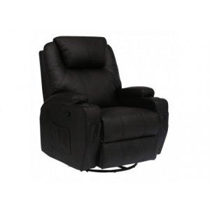 Πολυθρόνα Θερμαινόμενη Relax με Massage 8 Σημείων και Μηχανισμό Περιστροφής 84x92x109cm - Μαύρη - Σε 12 άτοκες δόσεις
