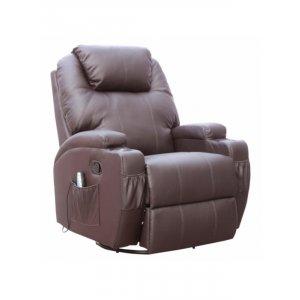 Πολυθρόνα Θερμαινόμενη Relax με Massage 8 Σημείων και Μηχανισμό Περιστροφής 84x92x109cm - Σκούρο Καφέ - Σε 12 άτοκες δόσεις