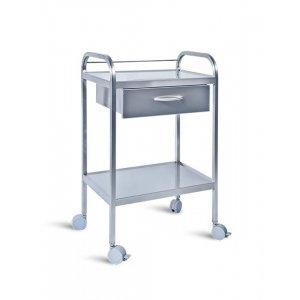 Τραπέζι νοσηλείας τροχήλατο από inox με 1 συρτάρι – D-32