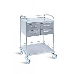 Τραπέζι νοσηλείας τροχήλατο από inox με 4 συρτάρια, 50x70x90 cm - D-24