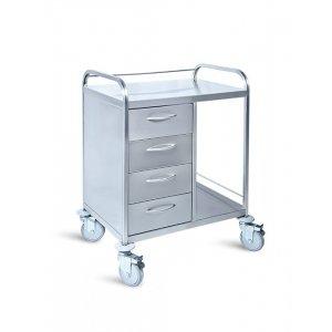 Τραπέζι νοσηλείας τροχήλατο από inox με 4 συρτάρια - D-22