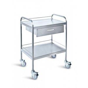 Τραπέζι νοσηλείας τροχήλατο από inox με 1 συρτάρι και προστατευτικό γείσο – D-33