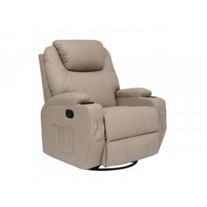 Πολυθρόνα Θερμαινόμενη Relax με Massage 8 Σημείων και Μηχανισμό Περιστροφής 84x92x109cm - Μπεζ - Σε 12 άτοκες δόσεις