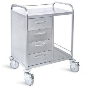 Τραπέζι νοσηλείας τροχήλατο από inox με 4 συρτάρια, 50x70x85 cm - D-22