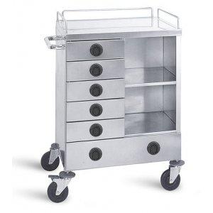 Τραπέζι νοσηλείας τροχήλατο από inox με 6 συρτάρια,. 50x70x100cm - D-27