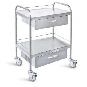Τραπέζι νοσηλείας τροχήλατο από inox με 2 συρτάρια, 50x70x85cm - D-29