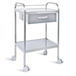 Τραπέζι νοσηλείας τροχήλατο από inox με 1 συρτάρι, 40x60x80 cm – D-32
