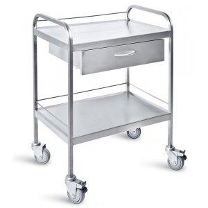Τραπέζι νοσηλείας τροχήλατο από inox με 1 συρτάρι και προστατευτικό γείσο, 50x70x85 cm – D-33