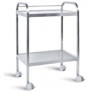 Τραπέζι νοσηλείας τροχήλατο από inox με 2 ράφια, 40x60x80 cm – D-38