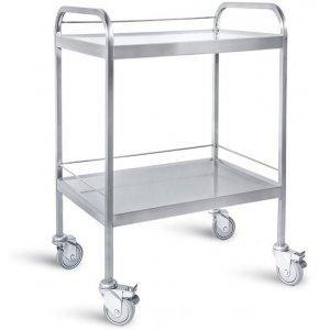 Τραπέζι νοσηλείας από inox με 2 ράφια και προστατευτικό γείσο, 50x70x85 cm – D-39