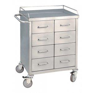 Τραπέζι νοσηλείας τροχήλατο με 8 συρτάρια 50x75x100 cm – D-20
