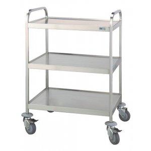 Τραπέζι νοσηλείας τροχήλατο από inox με 3 επιφάνειες διαστάσεων 40x60x90 cm – D-34