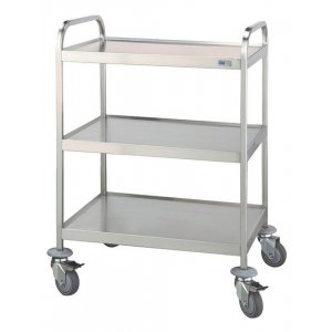 Τραπέζι νοσηλείας τροχήλατο από inox με 3 επιφάνειες διαστάσεων 50x70x94 cm - D-35