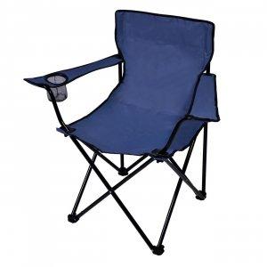 Καρέκλα Παραλίας Μπλε σε Τσαντάκι Μεταλλική Τext & Polyester Μπράτσα με 2 Θήκες Ποτηριού Πτυσσόμενη