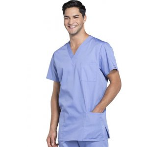 """Σετ Unisex Νοσηλευτικό Μπλουζάκι με Λαιμόκοψη """"V"""" και Παντελόνι (Scrub) - Γαλάζιο"""