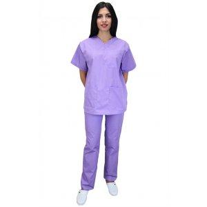 """Σετ Unisex Νοσηλευτικό Μπλουζάκι με Λαιμόκοψη """"V"""" και Παντελόνι (Scrub) - Μωβ"""
