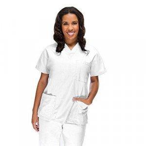 """Σετ Unisex Νοσηλευτικό Μπλουζάκι με Λαιμόκοψη """"V"""" και Παντελόνι (Scrub) - Λευκό"""