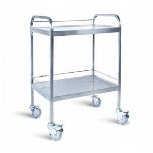 Τραπέζι νοσηλείας από inox με 2 ράφια και προστατευτικό γείσο – D-39